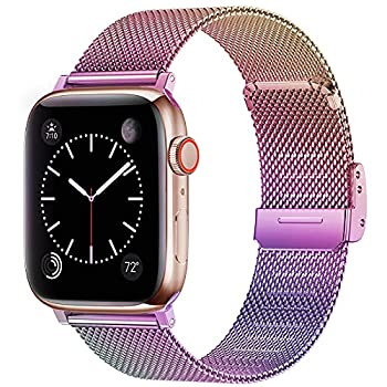 Swhatty Bands Compatible with Apple Watch Band 38mm 40mm for Women Men Stainless Steel Milanese Mesh Loop Adjustable Strap Replacement for iWatch Series 6/5/4/3/2/1/SE Colorful