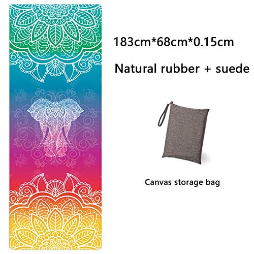 Yoga Mat Yoga Mat Printing Ultra-Thin Folding Non-Slip Cloth Towel Sweat-Absorbent Yoga Portable Travel Pad Pilates 183 Cm*68 Cm*0.15 Cm Black