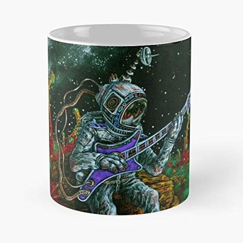 Taza de café de cerámica de 325 ml, diseño de guitarra de Rap