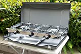 Raxter Folding Double Burner Stove and <span class='highlight'>Grill</span>, compact <span class='highlight'>gas</span> cooker for camping or festivals.