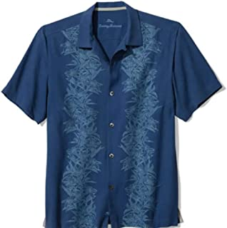 Tommy Bahama Front Embroidered Midnight Blooms Silk Camp Shirt (Color: Bering Blue, Size L)