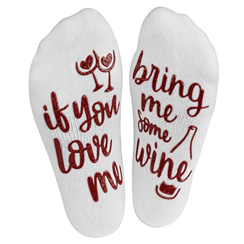 Haute Soiree If You Love Me, Bring Me Some Wine Funny Novelty Socks For Women - Ankle Length - Non-Slip Grip - Valentines Day, Birthday, Mothers Day, Bachelorette Party, Romantic Gift