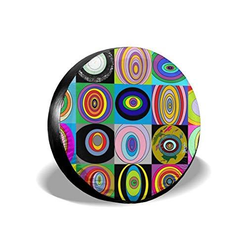 AEMAPE Círculos de Colores Deslumbrante Cubierta de neumático de Repuesto, Ajuste Universal para Jeep, Remolque, RV, SUV, camión y Muchos vehículos, diámetro de 16 Pulgadas