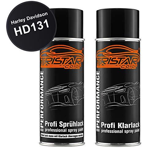 TRISTARcolor Motorradlack Spraydosen Set für Harley Davidson HD131 Vivid Black Basislack Klarlack Sprühdose 400ml