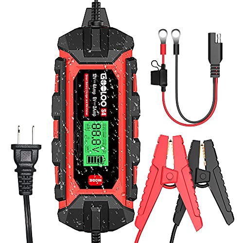 GOOLOO S4 4 Amp Car Battery Charger Automotive, 6V/2A 12V/4A Smart Trickle Charger Maintainer with...