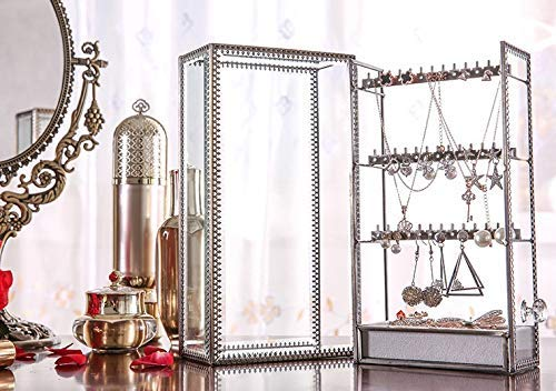 JC MAN Earring Holder Display Rack Glass Ear Rings Organizer Jewelry Hanger Vertical Antique Ear Stubs Display Stand Storage Box, Hanging Jewelry Organizers