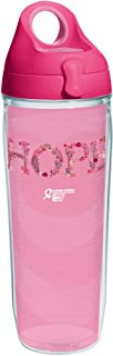Tervis 1239636 American Cancer Society-Hope Flowers Insulated Tumbler with Wrap and Passion Pink Lid, 24oz Water Bottle, Clear