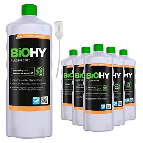 BiOHY Jabón líquido (6 botellas de 1 litro) + Dosificador | Jabón líquido para manos inodoro, agradable a la piel y reengrasante | Sin perfume ni colorantes (Flüssig Seife)