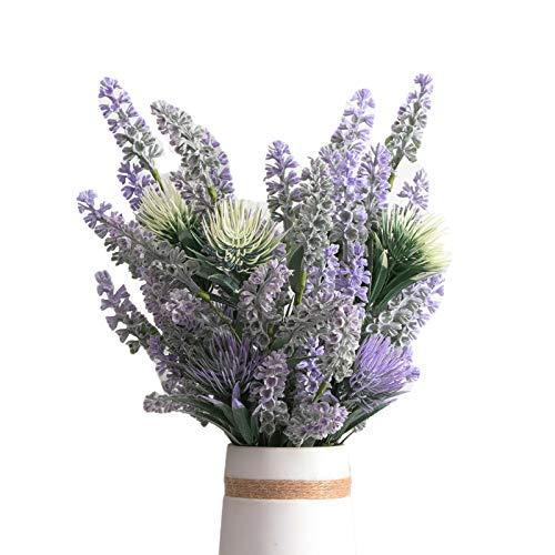 LecoDiy Juego de 4 racimos de tallo de lavanda artificial de 15.7 pulgadas, ramo de flores de color lila con hojas de cordero para decoración rústica y natural, para el hogar, apartamento o boda