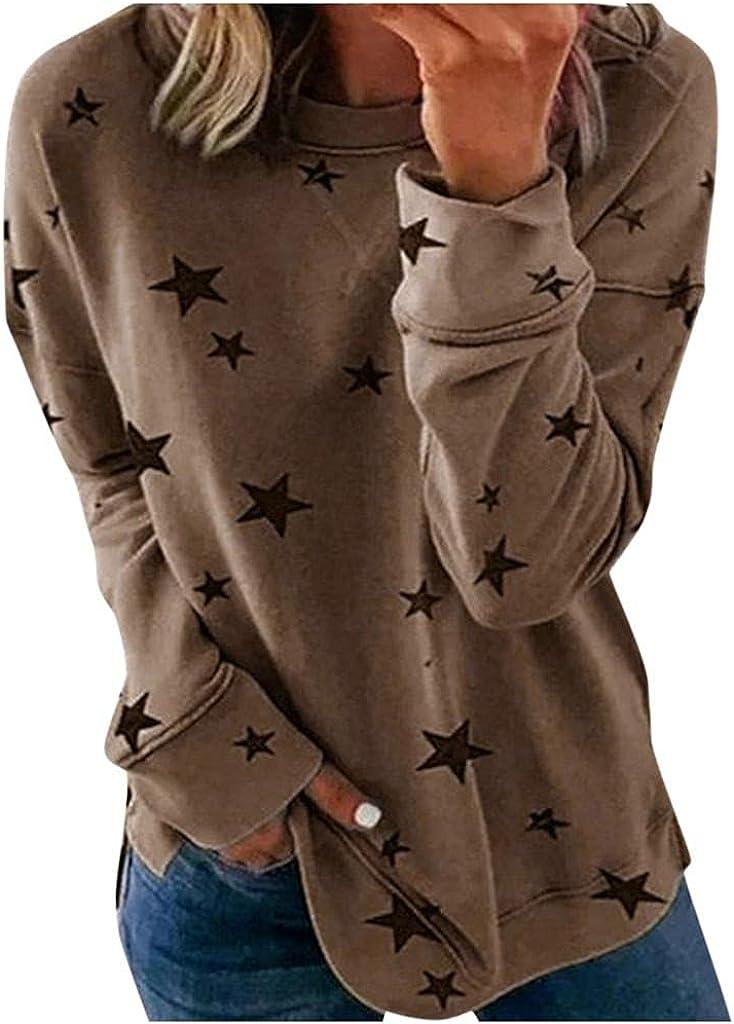 HCNTES WomensLongSleeveTops,Casual Crewneck Casual Sweatshirt Star Printed Loose Pullover Tops Shirts