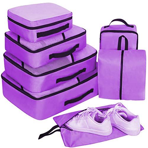Packing Cubes Set 7-teilig, Faxsthy Packwürfel Packtaschen Kleidertaschen für Kleidung Unterwäsche Kosmetik Wasserdich für Reise Geschäftsreisen Urlaube und Wohnmobile (Lila S)