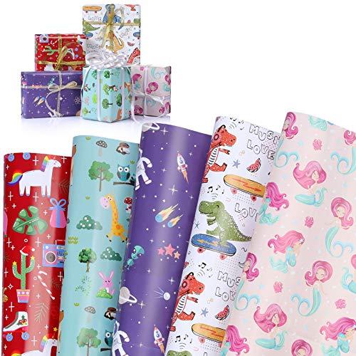 Papel Para Envolver Regalos, WolinTek 5 Hojas Papel de Regalo con Dinosaurios, Niños Niñas Cumpleaños Papel Regalo, para Cumpleaños, San Valentín, Día De Fiesta, Baby Shower, Navidad(70 x 50cm)