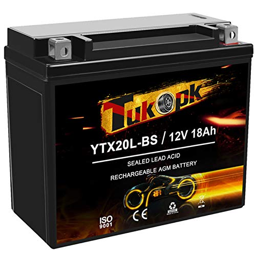 YTX20L-BS Motorcycle Battery 12V 18Ah, 235CCA Sealed AGM Maintenance Free, Replacement Battery YTX20L ETX20L BS For ATV Snowmobile Honda Yamaha, Tukopk