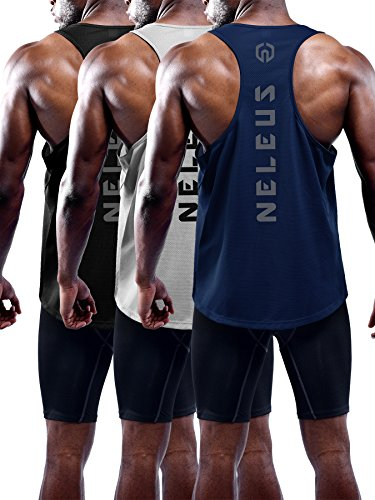 Neleus Men s 3 Pack Dry Fit Muscle Tank Workout Gym Shirt,5031,Black,Navy,Grey,M,EU L