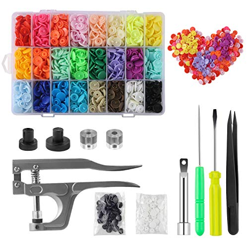 Snap Fasteners Kit with Pliers 400 Sets 24-Colors Plastic Snaps and Tool Set Snaps Starter Kit T5 Snap Buttons Plastic with Snaps Pliers,Sewing Accessories and Sewing kit