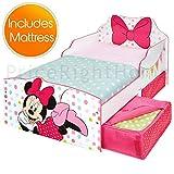 Lit Minnie Mouse Toddler avec Rangement et Matelas en Mousse