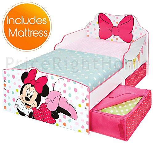Lit Minnie Mouse Toddler avec Rangement + Matelas Entièrement Suspendu