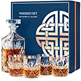 Whiskey Decanter Whisky Glasses Set, Whiskey Gift Sets for Men, 4 Glass Tumblers Whisky Tasting Set in Gifts Box for Father Dad Husband Him Brother, Can be Personalised