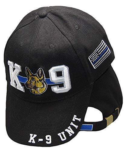 K-9 Unit Thin Blue Line Police USA Blue Line Patch on Side Embroidered Cap Hat