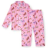 Wildkin Kids 2-Piece Button Down Pajama Set for Boys and Girls, 100% Polyester Flannel Fabric Pajama Set for Kids, Features Classic Button Closure Design, BPA-free, Size 3T (Horses)