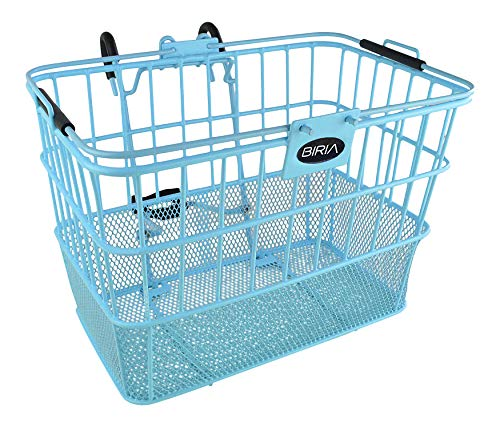 Bicycle Basket Lift-Off Detachable, Wire Mesh, with Swing up Handle with Bracket. Weather-Proof Steel Construction (Blue)