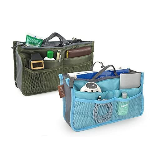 a16d0fe8f2 Multifunction Handbag Organizers Insert Pack of 2 Bag In Bag Cosmetic  Travel Bag (Green&Blue)