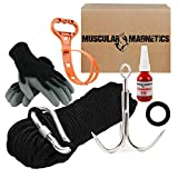 The Ultimate Magnet Fishing Accessory Kit - Includes Large Grappling Hook, 8mm 100ft Rope, Durable Non-Slip Gloves, Threadlocker, Rope Organizer, Tape and a Carabiner