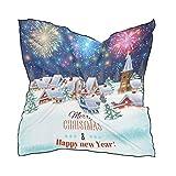 Chal Bufanda Bird Square para mujer Señoras Head Wraps Pañuelo para la cabeza 60 × 60 CM Árbol de Navidad Nieve Fuegos artificiales Noche Impresión ligera