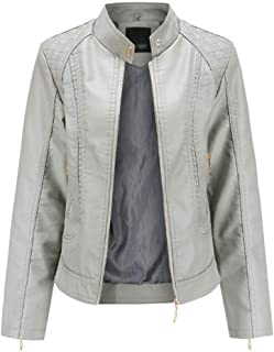 Yshaobinggva Women's Leather Jacket Slim Leather Jacket OL Temperament Collar Leather Jacket Retro Motorcycle Leather Jacket (Color : Gray, Size : L)