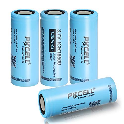 4 piezas PKCELL 3.7 V 1400 mAh batería recargable de litio 18500 li-ion batteies para linternas