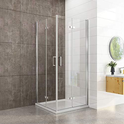 welmax Duschkabine 90x90cm Duschabtrennung Doppelt Falttür Rahmenlos Duschtür Duschtrennwand aus 6mm ESG Sicherheitsglas mit beidseitiger Nano Beschichtung Höhe 195cm