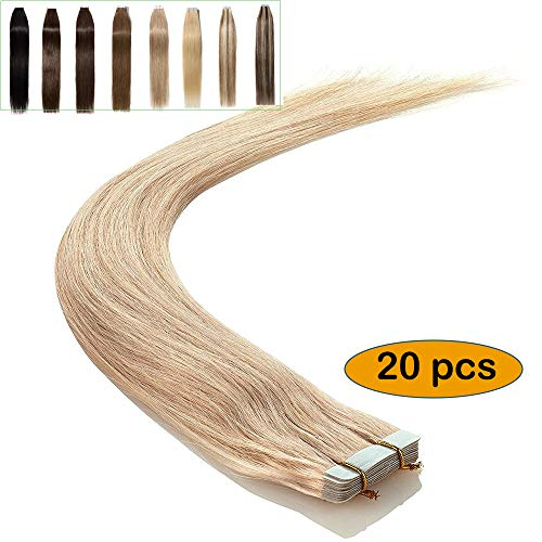 Elailite Extensiones de Cabello Natural Adhesivas Remy Pelo Humano [2g *20 Unidads] 40g - 35 cm #613 Rubio Muy Claro - Tape in Hair Extension Lisa