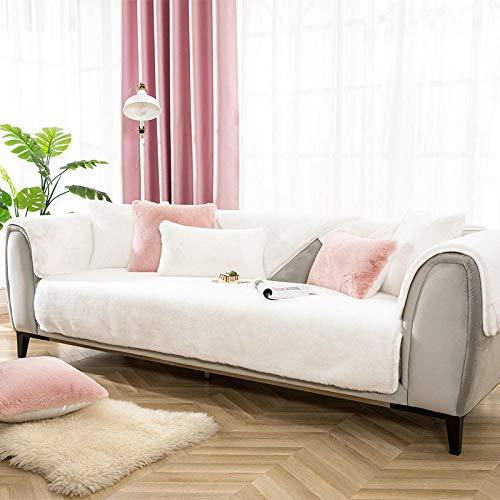 B/H Fundas de sofá de Esquina,Funda de sofá Antideslizante, Funda de sofá de Felpa de Lujo Ligero-Creamy-White_90 * 160cm,3 Plaza Funda de Sofá Elástico Cubierta