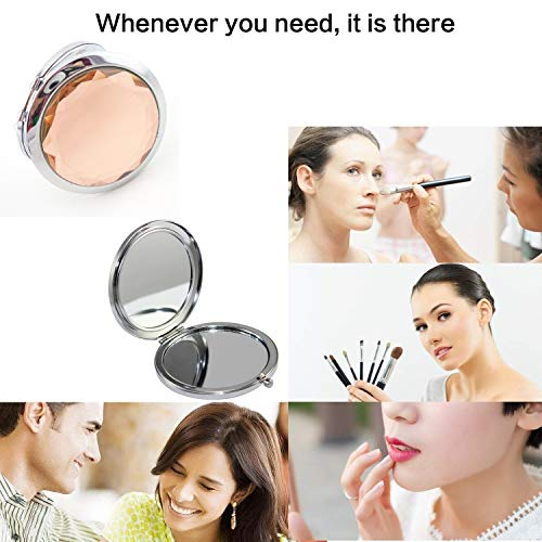 Karp Double Sides Portable Foldable Pocket Makeup Compact Mirror Metal Ladies Round Crystal Make-Up Mirror/Cosmetic Mirror - Cream