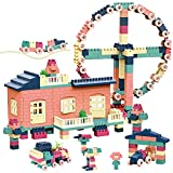FINXTY Building Blocks Set - 362 PCS Building Bricks with Houses, Ferris Wheel, Trolley Classic Toy Building Set Boys Girls Age 4 and Up