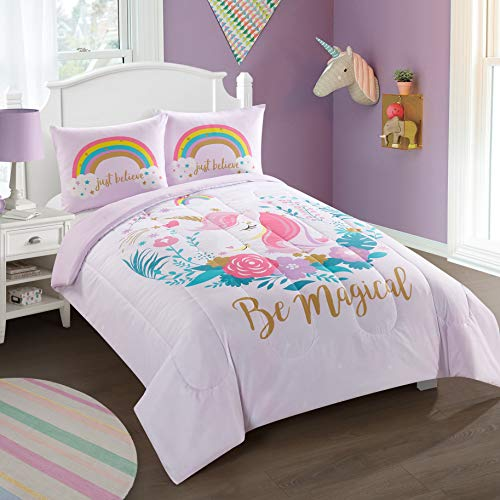 Heritage Kids Kids and Toddler Ultra-Soft Magical Unicorn and Rainbow Easy-Wash Microfiber Comforter Bed Set, Twin, Light Pink
