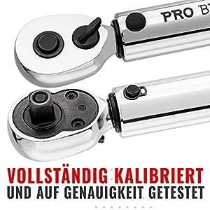 Drehmomentschlüssel Fahrrad & Motorrad 1/4 Zoll Antrieb mit Umschaltknarre und Verlängerung, Messbereich 2 bis 20 Nm - Präzisionswerkzeug inklusive Innensechskant Hex und Torx Bits Für Rennrad, MTB