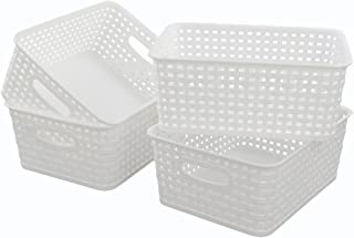 Lesbin White Plastic Weave Baskets, 4-Pack