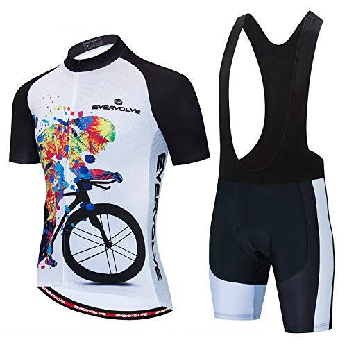 Vgowater Evervolve Men's Cycling Jersey Black Bib Shorts Set Biking Bib Suits(S,Color Man)