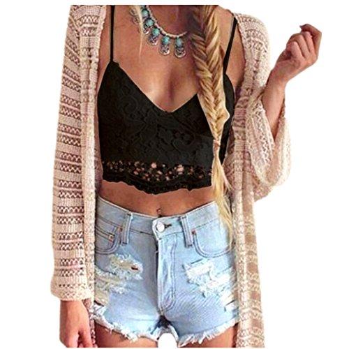 Amlaiworld Frauen Crochet Behälter Unterhemd Spitze Weste Bluse Bralet Bra Crop Top (S, A - Schwarz)