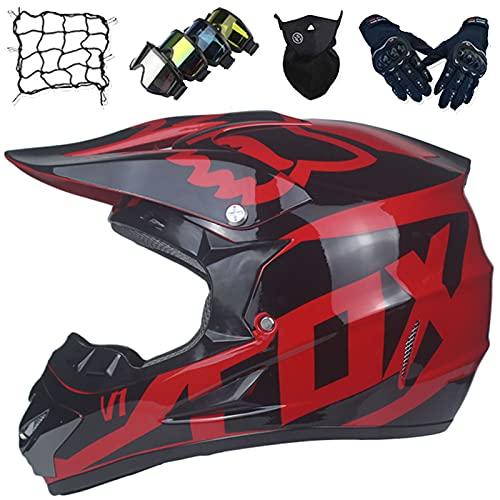 Cascos Moto Niños, MJH-01 Cascos de Protección de Motocicleta de Integral Unisex, Cascos Motocross Adultos y Jóvenes con Diseño Fox, Equipo de Protección de MTB Quad Descenso y Todoterreno