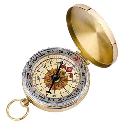 Westeng - Bussola Precisa classico in ottone, design metallo, orologio da tasca flip-open, bussola per camping hiking e per viaggare