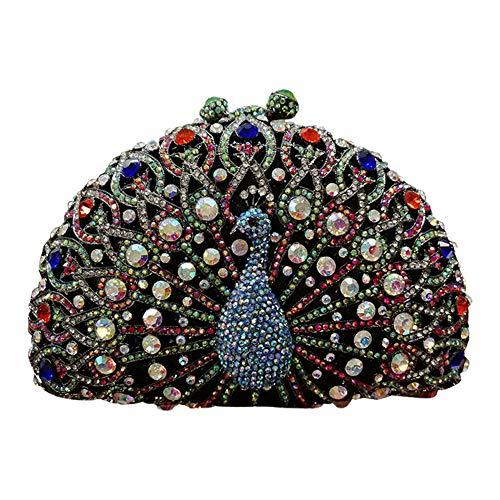 Santimon Diamant Abend-Tasche Glitzer Steine Damen-Clutch Strass Handtasche Hochzeit Party Luxus-Handtaschen Pfau Orange