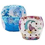 Pannolini Piscina Costume Contenitivo Neonato Bambino Riutilizzabili Pannolini da Nuoto Mare E Piscina Baby Slip Cover Lavabile Spiaggia Costumino Bimba Set 2