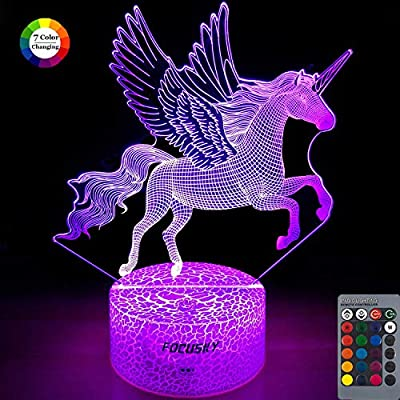 Focusky Unicorn Night Light for Kids,Dimmable LED Nightlight Bedside Lamp,16 Colors+7 Colors Changing,Touch&Remote Control,Best Unicorn Toys Birthday Gifts for Girls Boys