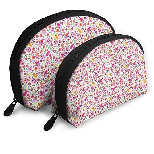 Kosmetiktasche Schädel und Blumen Rosa Kosmetiktasche Clutch Tragbare Taschen Handtasche Organizer