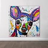 Imprimir moderno abstracto animal lienzo arte perro chihuahua arte pop cuadros de pared para sala de estar niños decoración del hogar pintura 40x40cm (16x16in) marco interior
