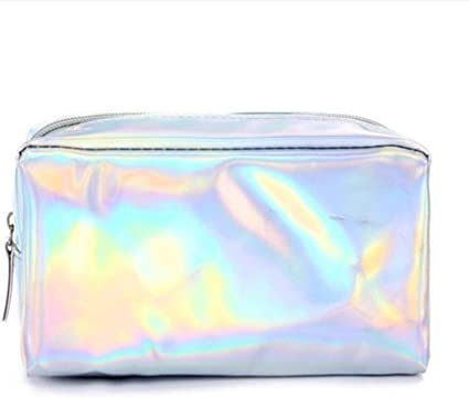King Boutiques Holographic Pencil Case for Girls School Pencil Bag Super Shiny Big Pencil Box Stationery Pouch Office School Supplies (Color : Silver Color)