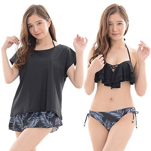 [COTARON] 水着 レディース 体型カバー タンキニ ビキニ カバーアップ Tシャツ ショートパンツ 白 黒 4点セット (S, B:ブラック×リーフ)