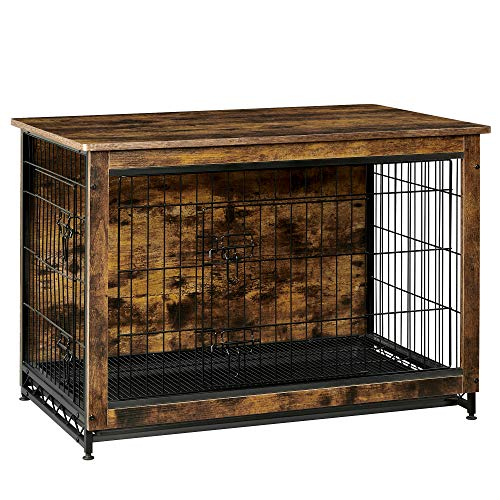 FEANDREA Wooden Dog Crate, Indoor Pet Crate End Table, Dog Furniture with Removable Tray, Rustic Brown and Black UPFC003X01